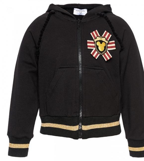 monnalisa open sweater with mickey print