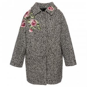 coat with flower tweed