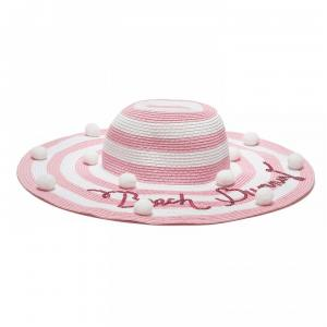 hat with stripes white and pink