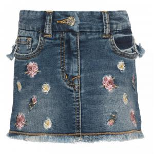 monnalisa skirt in jeans with rose