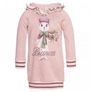monnalisa sweater dress with hoodie