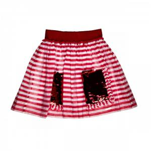 skirt with stripes tomato red and white